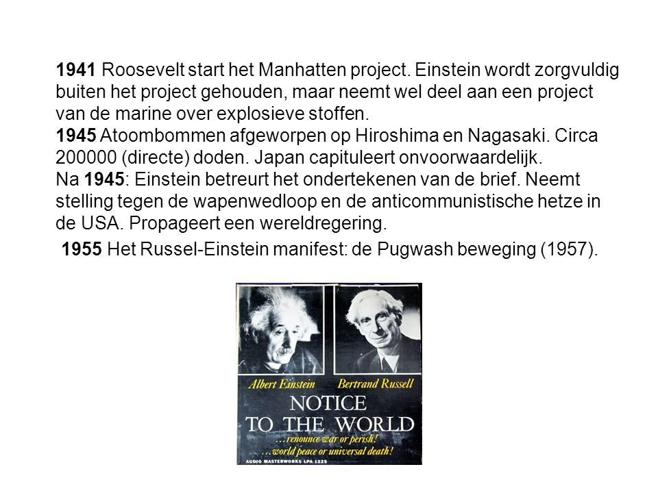1941 Roosevelt start het Manhatten project