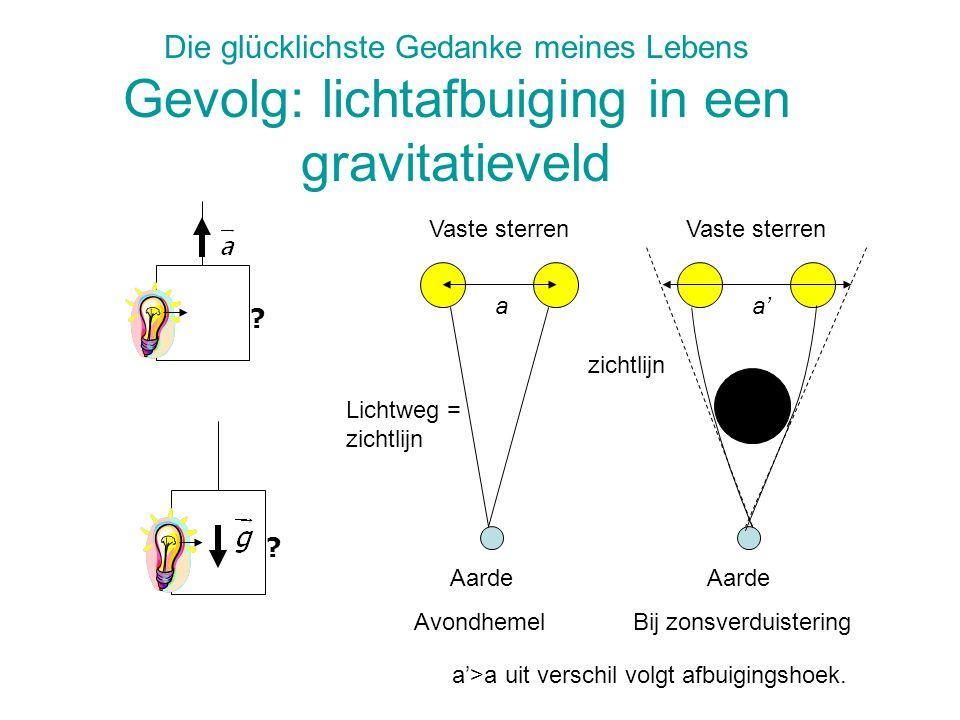 Die glücklichste Gedanke meines Lebens Gevolg: lichtafbuiging in een gravitatieveld