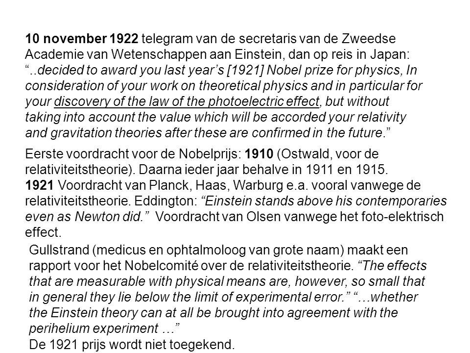 10 november 1922 telegram van de secretaris van de Zweedse Academie van Wetenschappen aan Einstein, dan op reis in Japan: