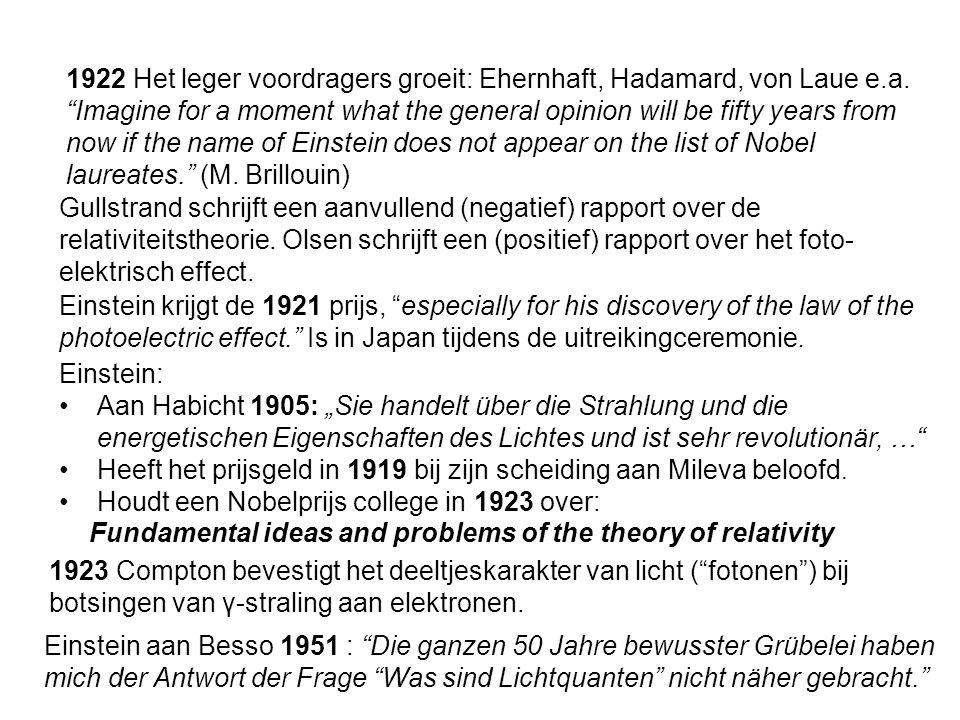1922 Het leger voordragers groeit: Ehernhaft, Hadamard, von Laue e.a.