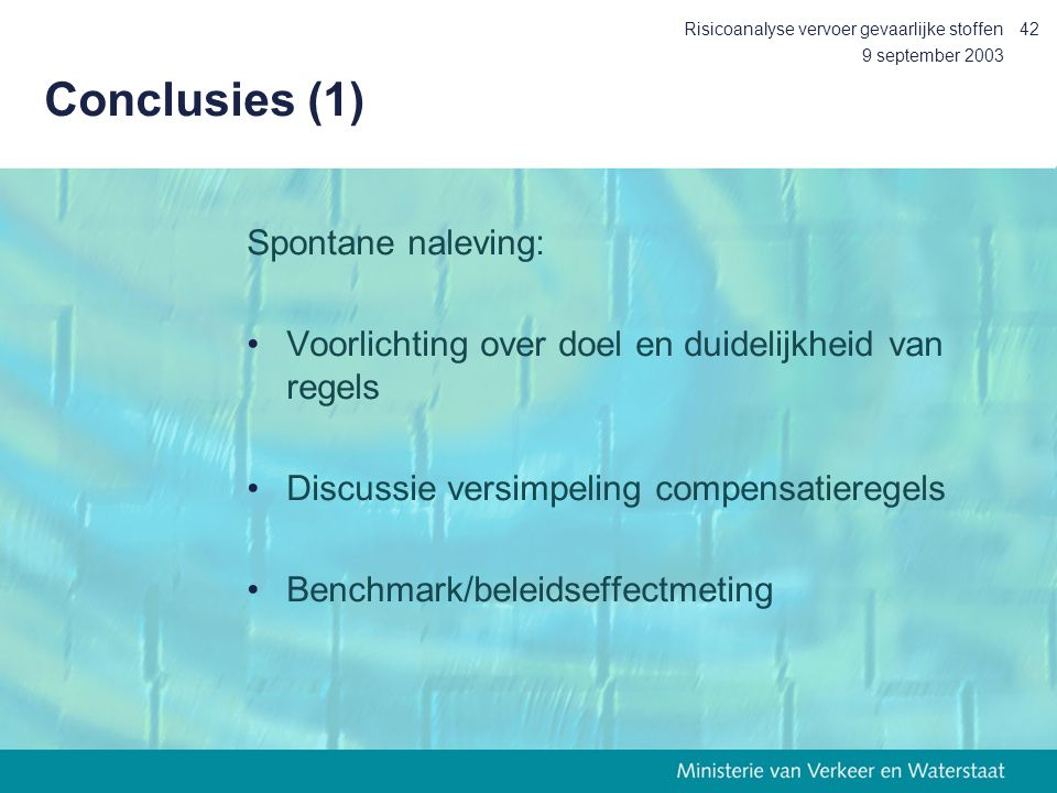 Conclusies (1) Spontane naleving: