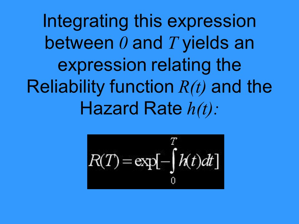 Integrating this expression between 0 and T yields an expression relating the Reliability function R(t) and the Hazard Rate h(t):