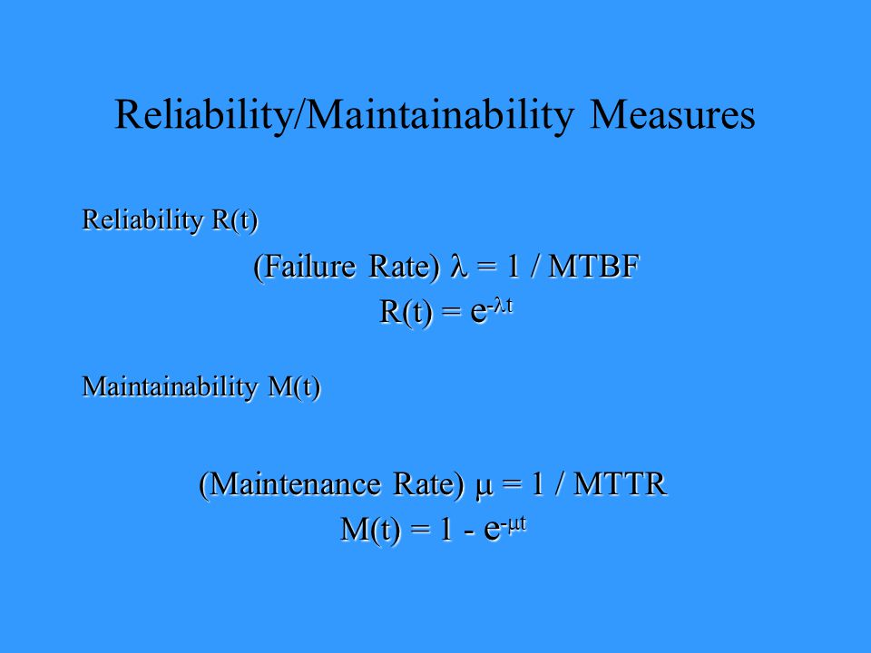 Reliability/Maintainability Measures