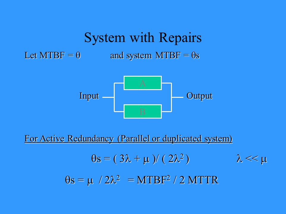 System with Repairs qs = ( 3l + m )/ ( 2l2 ) l << m
