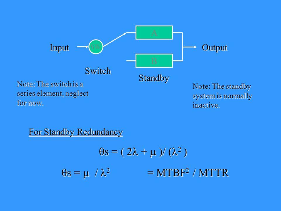 qs = ( 2l + m )/ (l2 ) qs = m / l2 = MTBF2 / MTTR A Input Output B