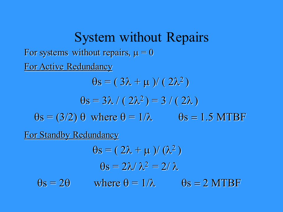 System without Repairs