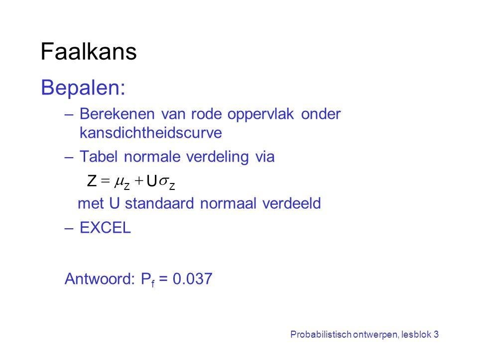 Faalkans Bepalen: Berekenen van rode oppervlak onder kansdichtheidscurve. Tabel normale verdeling via.