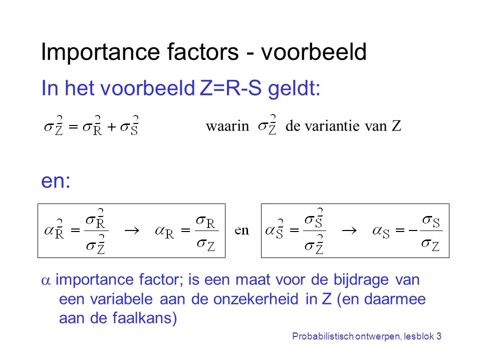 Importance factors - voorbeeld