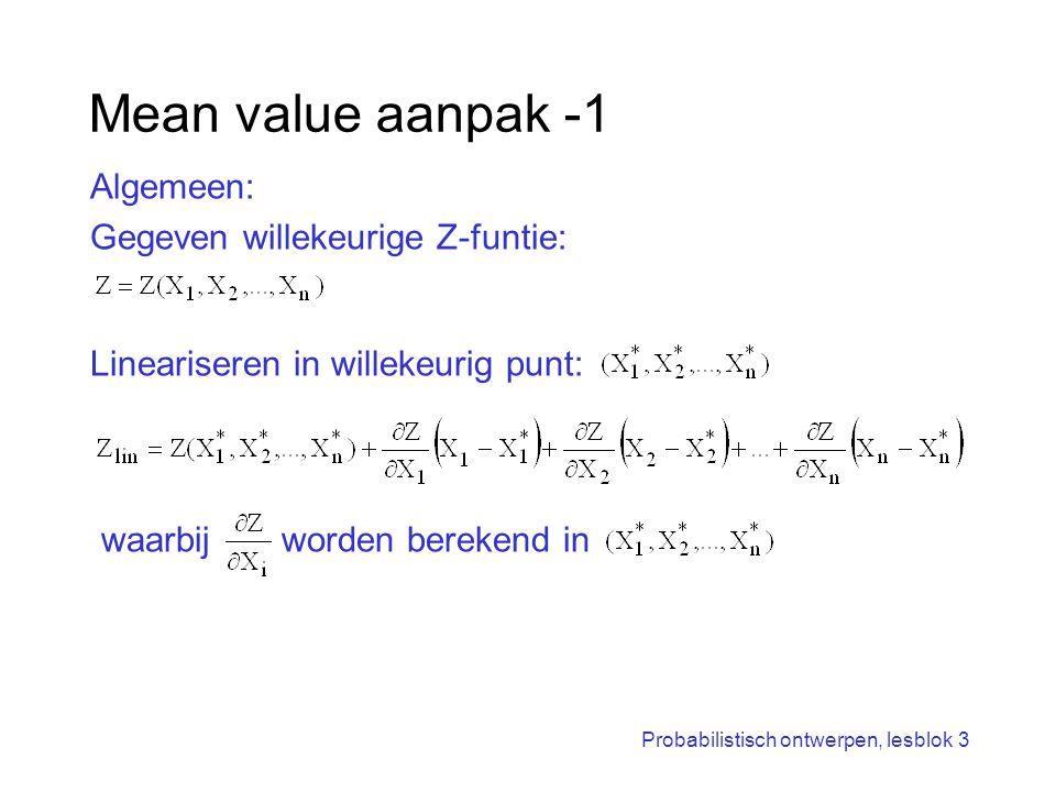 Mean value aanpak -1 waarbij worden berekend in Algemeen: