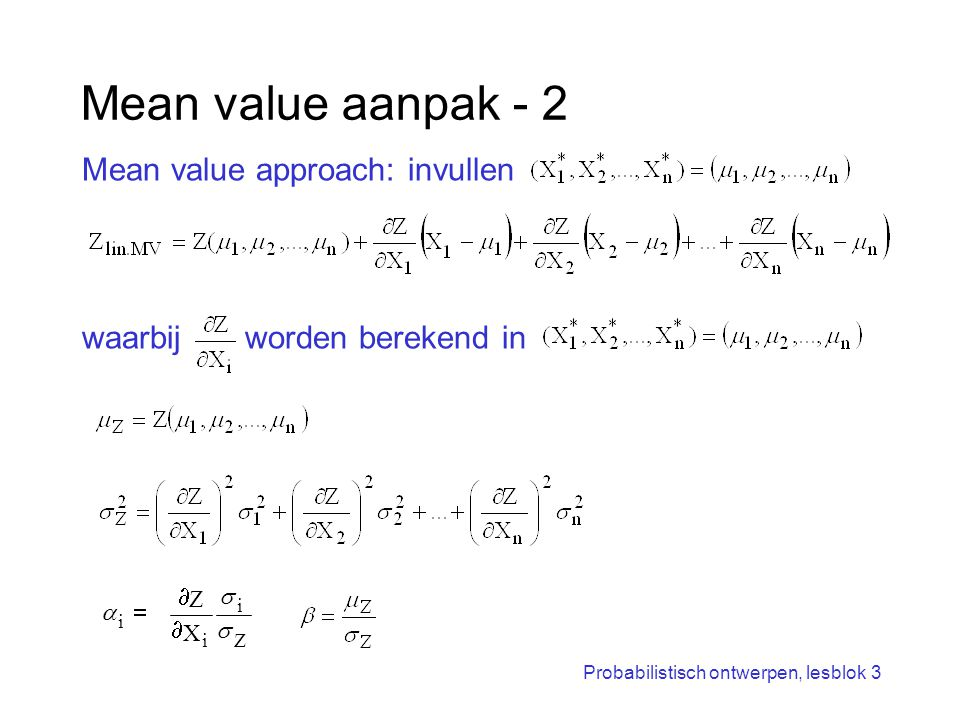 Mean value aanpak - 2 Mean value approach: invullen