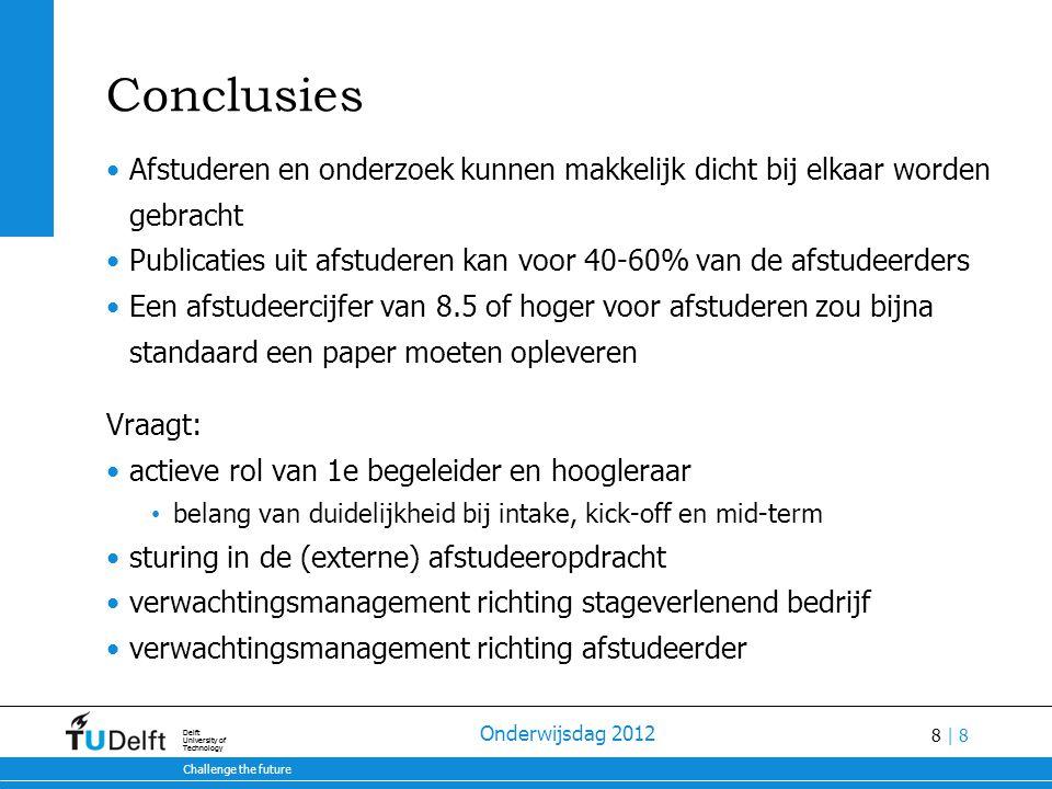 Conclusies Afstuderen en onderzoek kunnen makkelijk dicht bij elkaar worden gebracht.