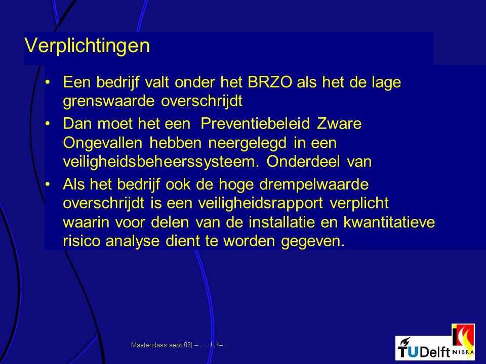 Verplichtingen Een bedrijf valt onder het BRZO als het de lage grenswaarde overschrijdt.