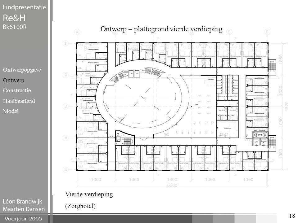 Ontwerp – plattegrond vierde verdieping