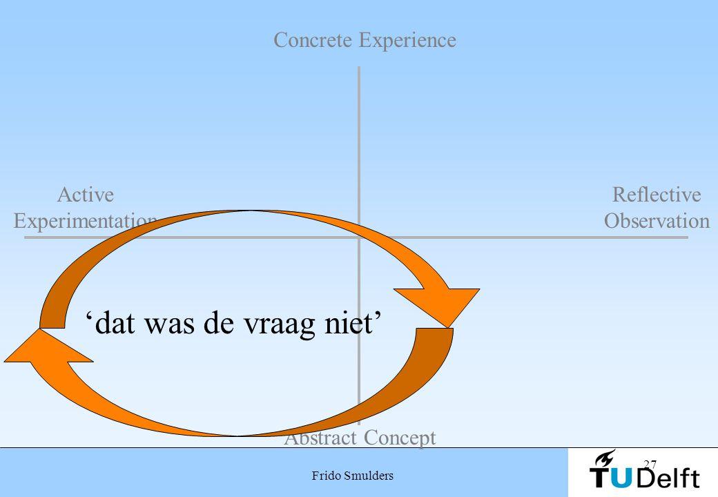 'dat was de vraag niet' Concrete Experience Active Experimentation