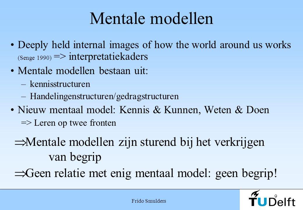 Mentale modellen Mentale modellen zijn sturend bij het verkrijgen