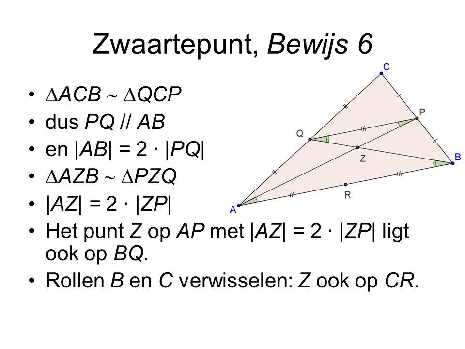 Zwaartepunt, Bewijs 6 ACB  QCP dus PQ // AB en |AB| = 2 · |PQ|