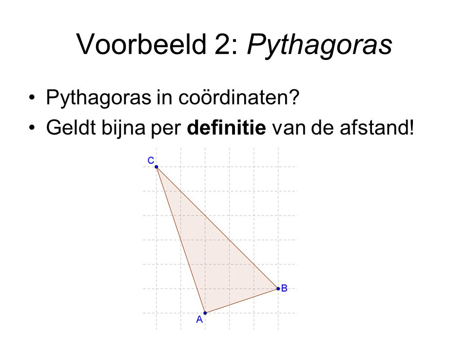Voorbeeld 2: Pythagoras