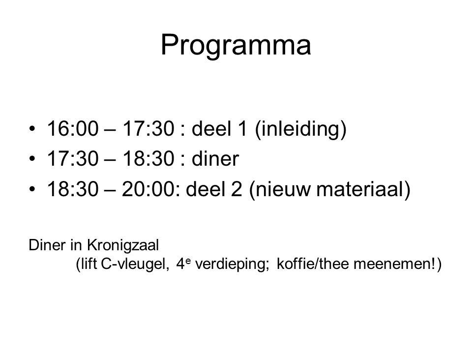 Programma 16:00 – 17:30 : deel 1 (inleiding) 17:30 – 18:30 : diner