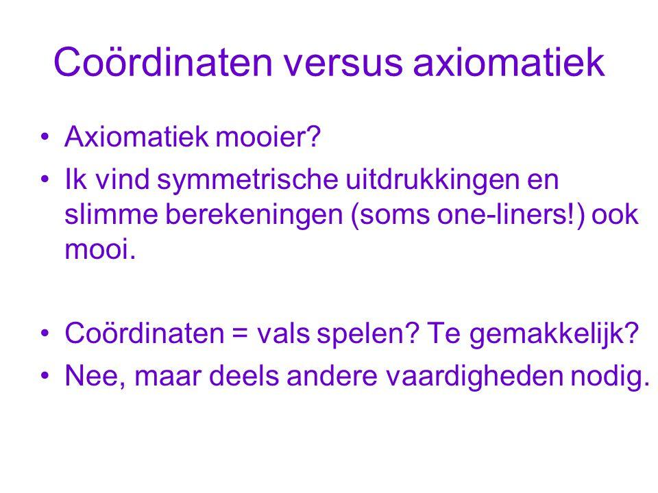 Coördinaten versus axiomatiek