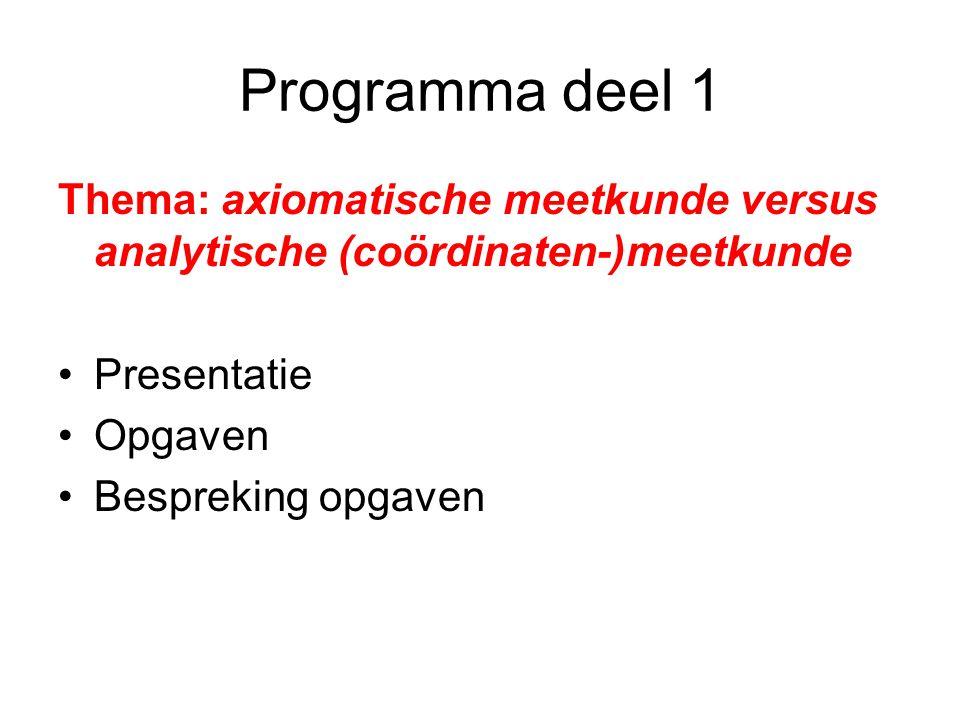 Programma deel 1 Thema: axiomatische meetkunde versus analytische (coördinaten-)meetkunde. Presentatie.