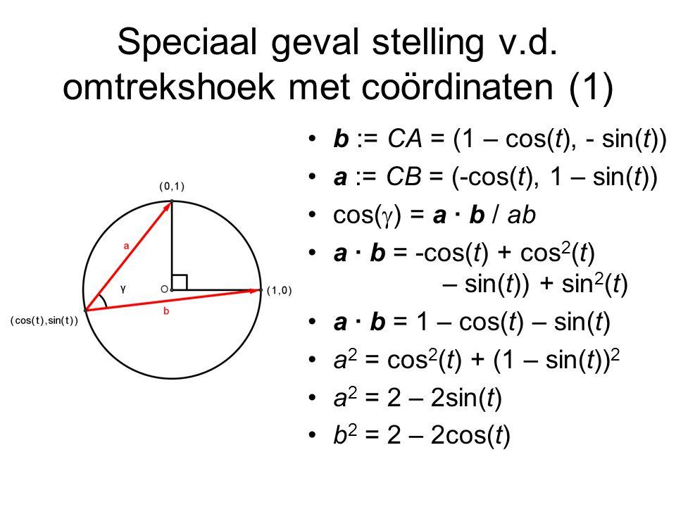 Speciaal geval stelling v.d. omtrekshoek met coördinaten (1)