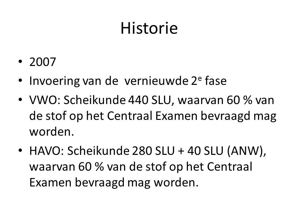 Historie 2007 Invoering van de vernieuwde 2e fase