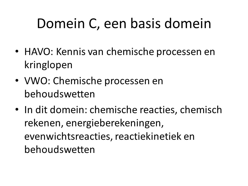 Domein C, een basis domein