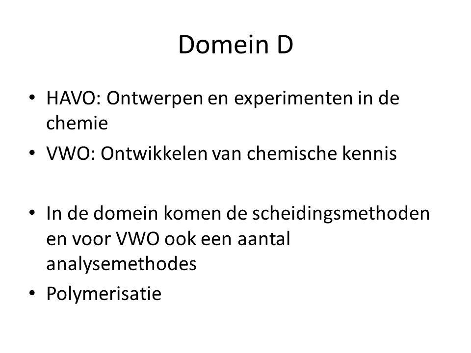 Domein D HAVO: Ontwerpen en experimenten in de chemie