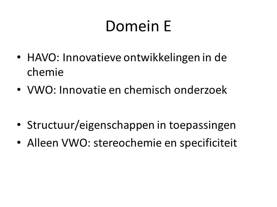 Domein E HAVO: Innovatieve ontwikkelingen in de chemie