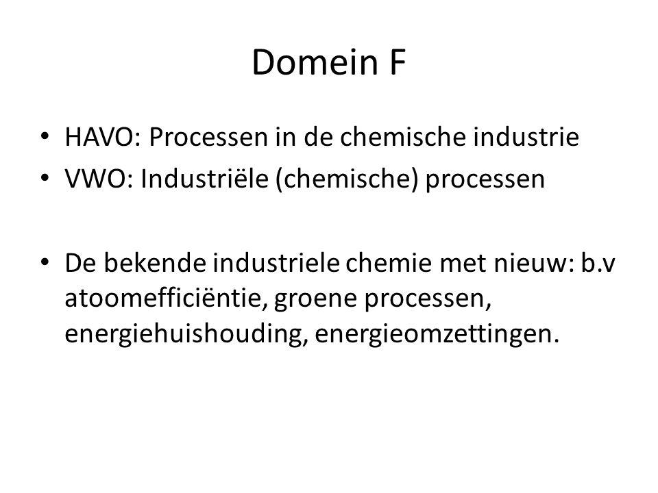 Domein F HAVO: Processen in de chemische industrie