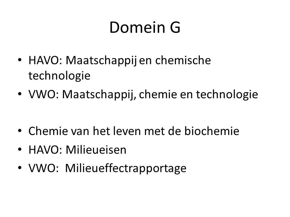 Domein G HAVO: Maatschappij en chemische technologie