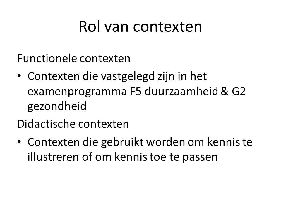 Rol van contexten Functionele contexten