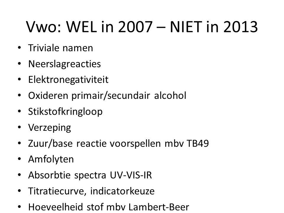 Vwo: WEL in 2007 – NIET in 2013 Triviale namen Neerslagreacties