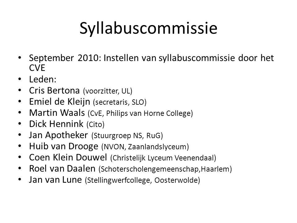 Syllabuscommissie September 2010: Instellen van syllabuscommissie door het CVE. Leden: Cris Bertona (voorzitter, UL)