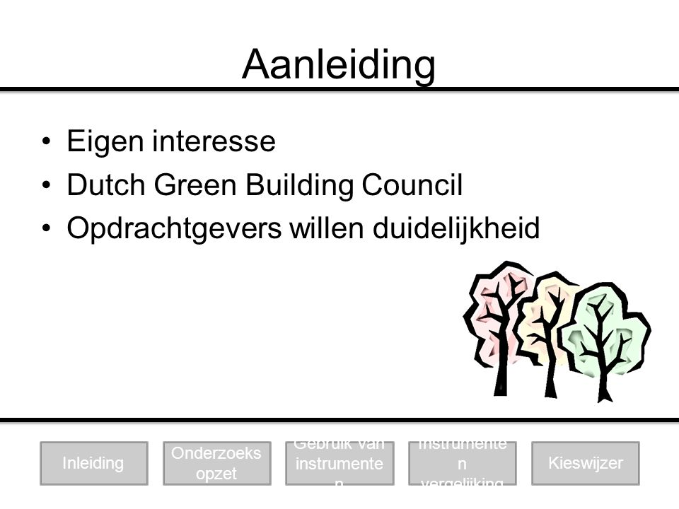 Aanleiding Eigen interesse Dutch Green Building Council