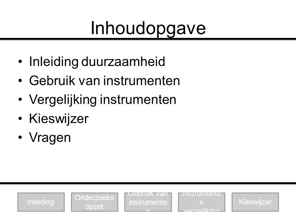 Inhoudopgave Inleiding duurzaamheid Gebruik van instrumenten