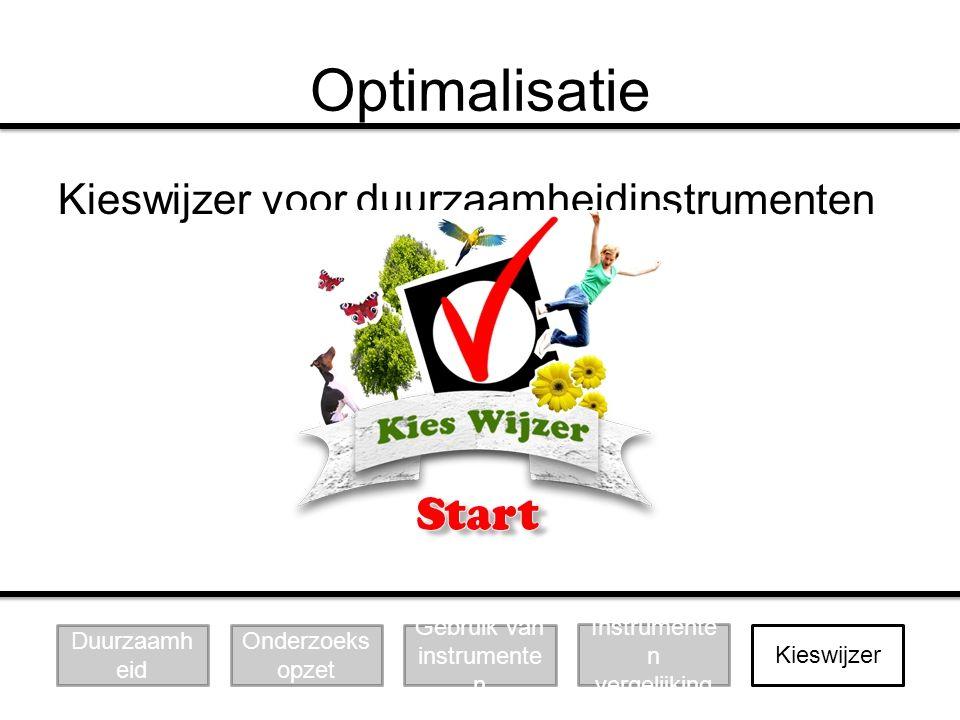 Optimalisatie Kieswijzer voor duurzaamheidinstrumenten Duurzaamheid
