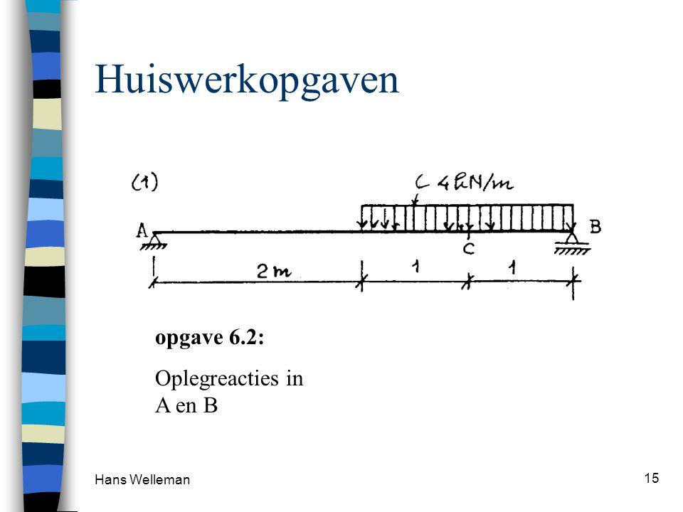 Huiswerkopgaven opgave 6.2: Oplegreacties in A en B Hans Welleman