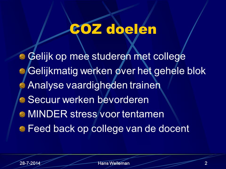 COZ doelen Gelijk op mee studeren met college