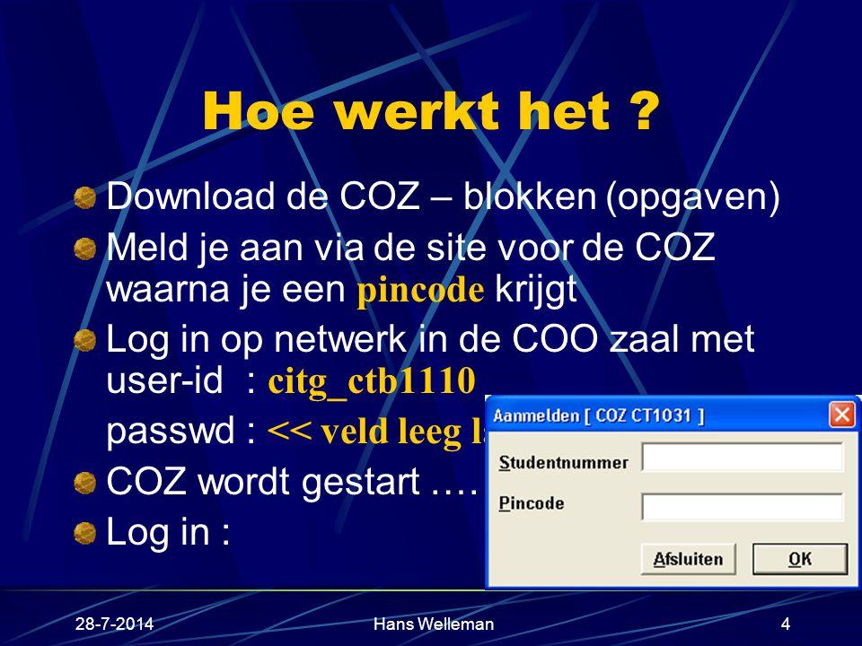Hoe werkt het Download de COZ – blokken (opgaven)