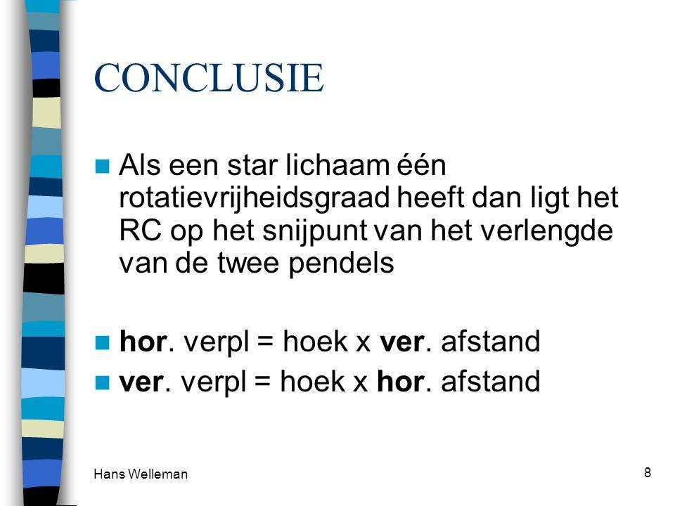 CONCLUSIE Als een star lichaam één rotatievrijheidsgraad heeft dan ligt het RC op het snijpunt van het verlengde van de twee pendels.