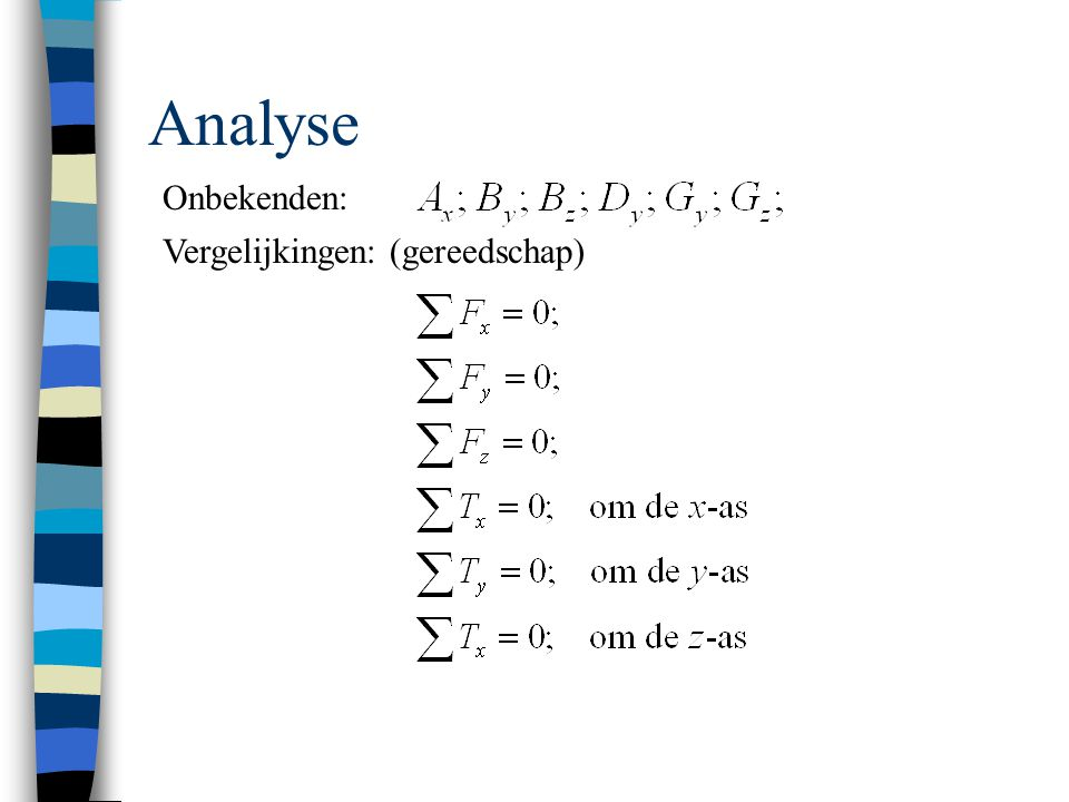 Analyse Onbekenden: Vergelijkingen: (gereedschap)
