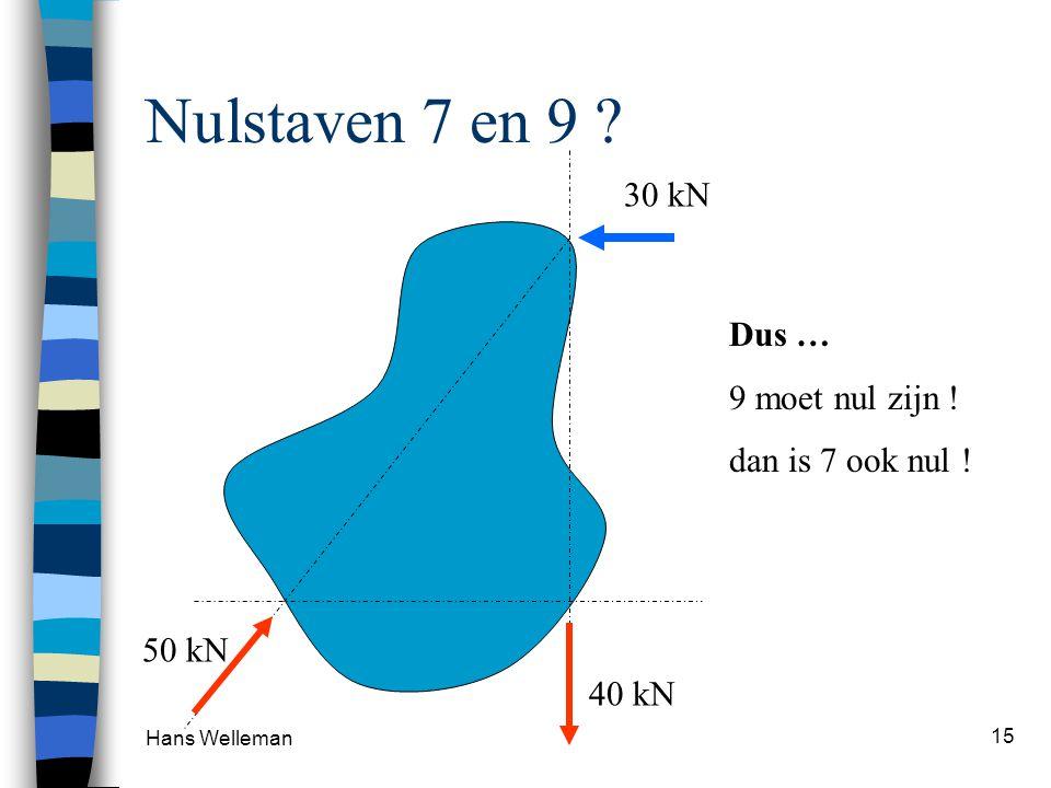 Nulstaven 7 en 9 30 kN Dus … 9 moet nul zijn ! dan is 7 ook nul !