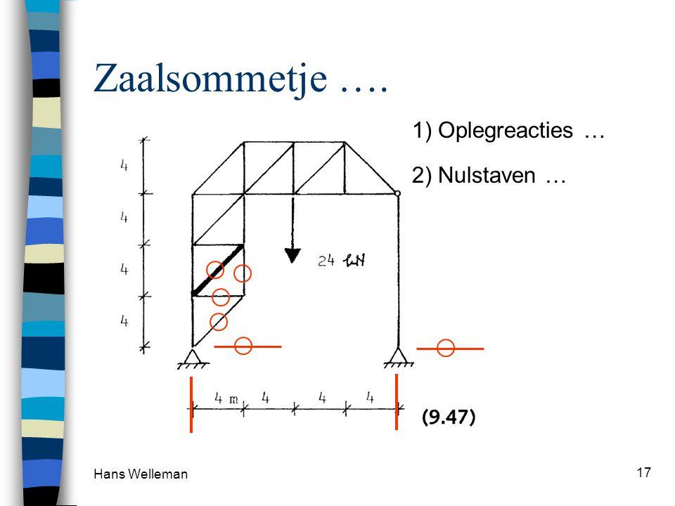Zaalsommetje …. 1) Oplegreacties … 2) Nulstaven … Hans Welleman