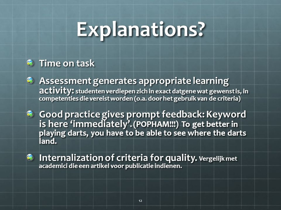 Explanations Time on task
