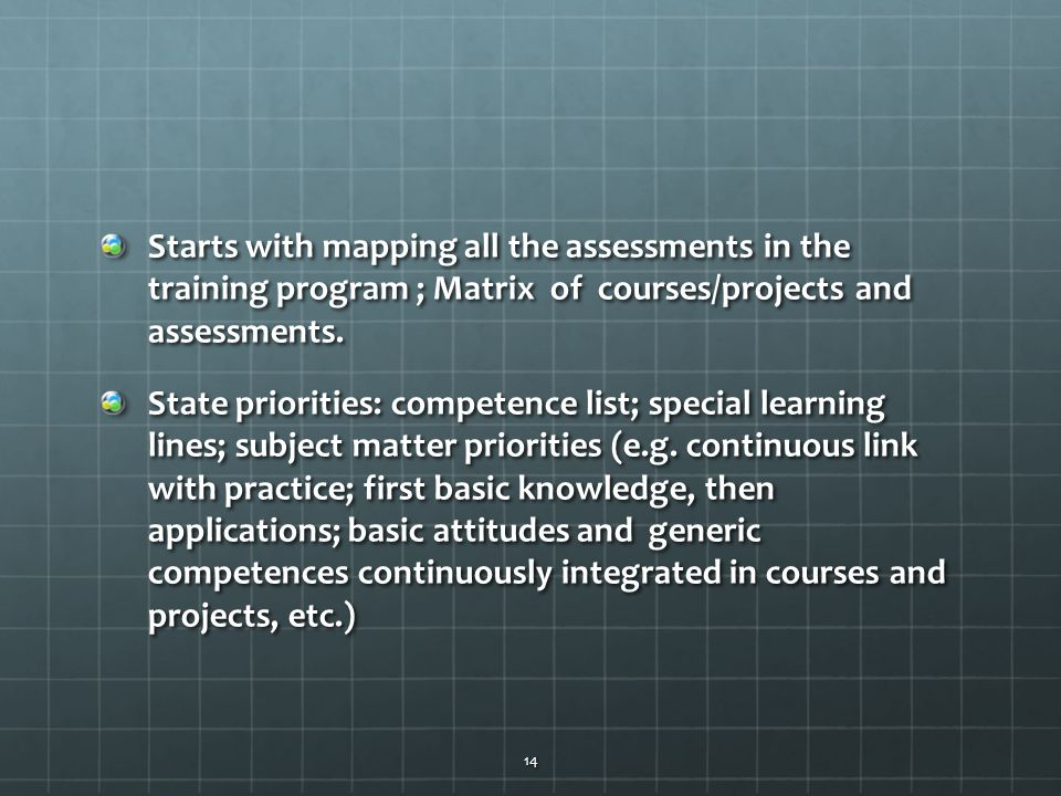 Starts with mapping all the assessments in the training program ; Matrix of courses/projects and assessments.