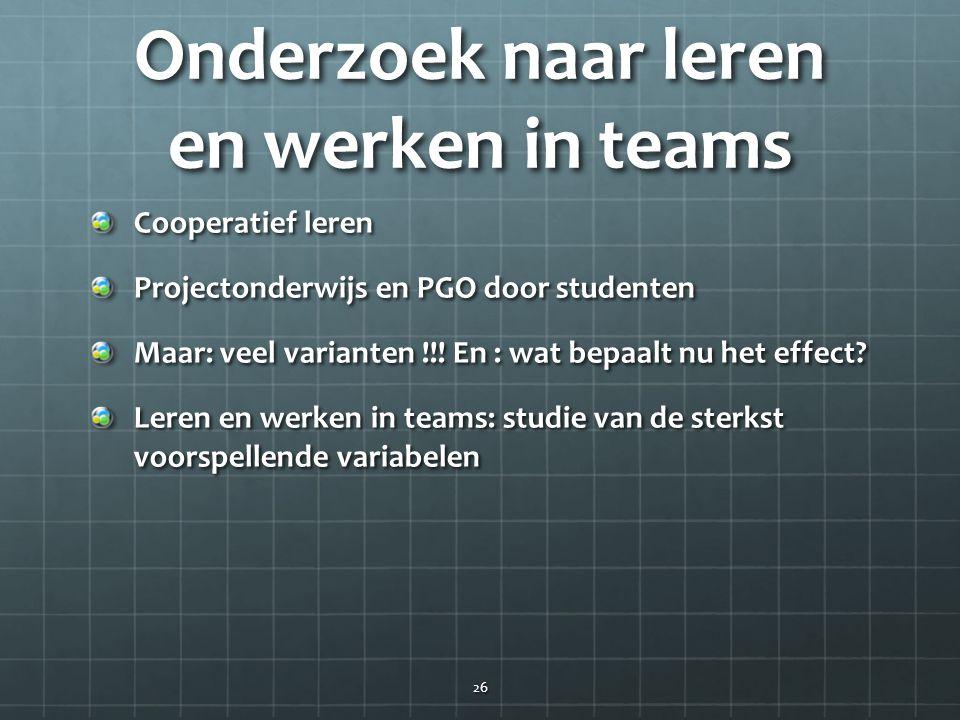 Onderzoek naar leren en werken in teams