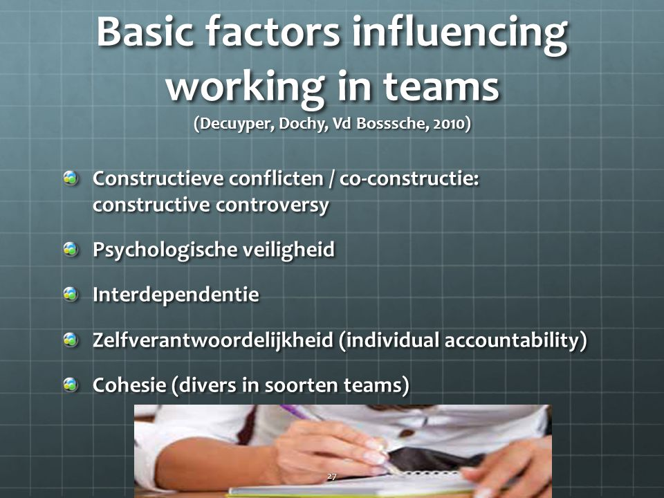 Basic factors influencing working in teams (Decuyper, Dochy, Vd Bosssche, 2010)