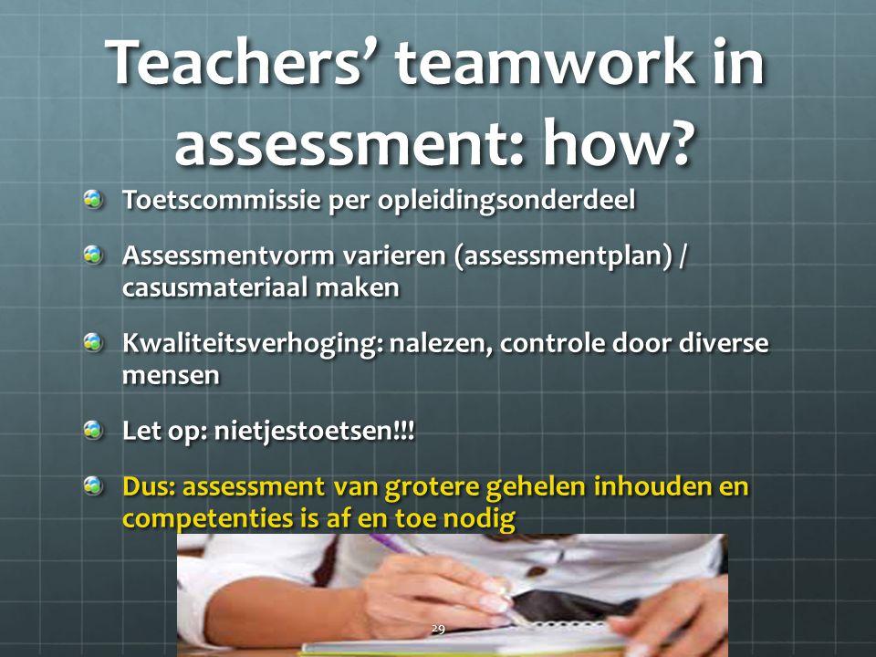 Teachers' teamwork in assessment: how