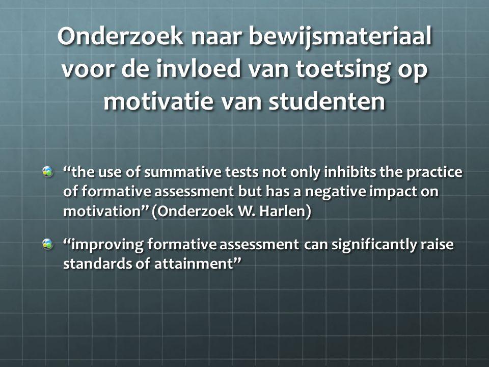 Onderzoek naar bewijsmateriaal voor de invloed van toetsing op motivatie van studenten